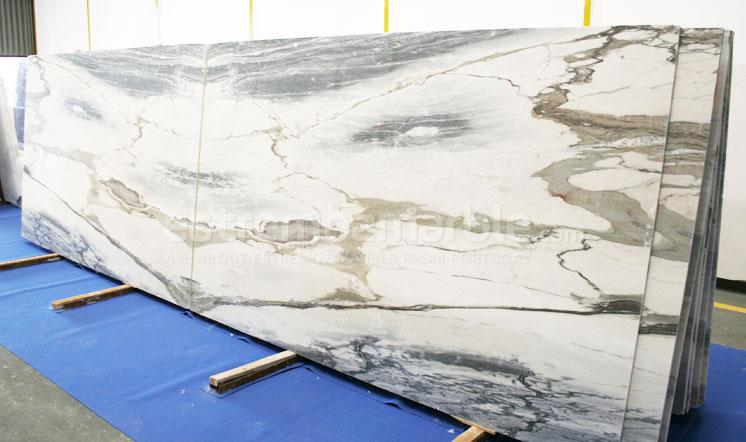 Estremoz Blue White marble slabs book-match